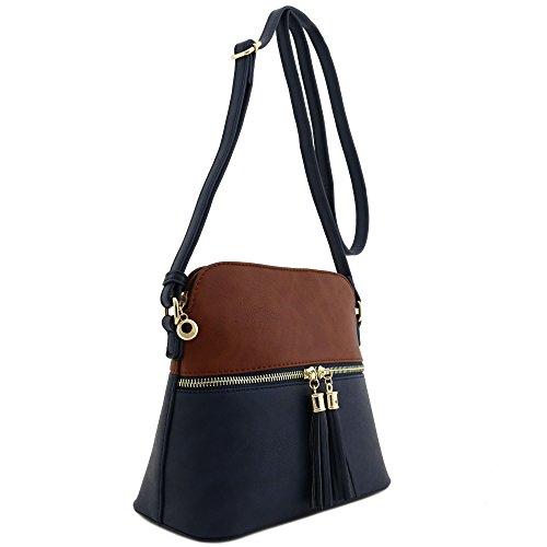 Navy Leather Bag (Tassel Accent Medium Crossbody Bag (Coffee/Navy))