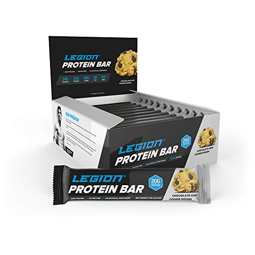 Legion Protein Bar Chocolate Chip Cookie Dough 100% Whey and Pea Protein, Baked Bars with Prebiotic Fiber – High Protein (20g) Low Fat (6g) Low Sugar (4g) No Soy or Gluten – Natural Flavors (12 Count)