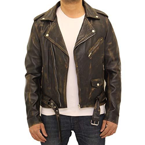 hombre genuino nag chaqueta cuero te Brando de para Am Motocicleta idas mangas e largas YxwCIK