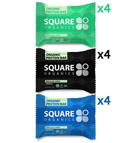 Square Organics Protein Bars, Dark Chocolate Nut Free Variety Pack, Vegan Protein, Coconut MCT Oil, Pre Workout Healthy Snack, 12-Pack