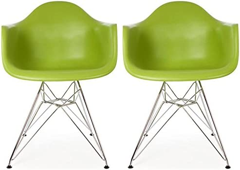 2xhome Set of 2 Green Mid Century Modern Vintage Designer Molded Shell Plastic Armchair