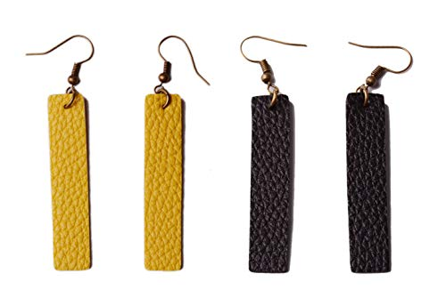 L&N Rainbery 2 Pairs Bar Leather Earrings Antique Looking Rectangle Faux Leather Bohemia Dangle Drop Earrings (Yellow)