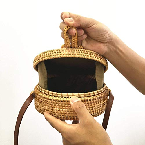 Straw Bag Round Straps Clasp Shoulder Bow Bag Handwoven Meeto with Leather Rattan A8BIx6wAWq