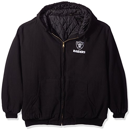 NFL Oakland Raiders Cumberland Canvas Quilt Lined Hooded Jacket, Black, XX-Large ()