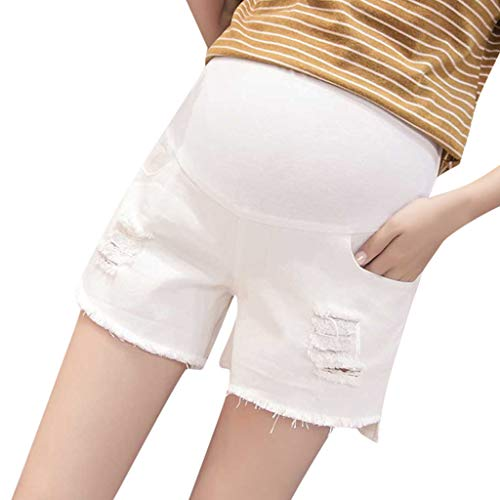 Women Shorts Maternity Denim Short Pants Pregnant Summer Solid Soft Hem Ripped High Waisted Jean (M, White)