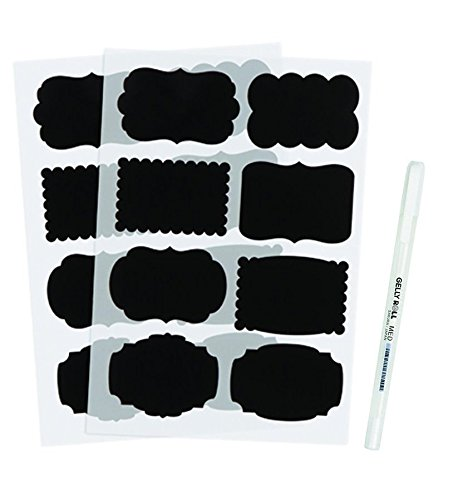 Darice All Chalked Up Chalkboard Stickers (48 Stickers, 8 Different Designs) and Sakura White Jelly Roll Medium Point Pen for Labeling Mason Jars, Bundle of 2 (Sakura Jelly Roll White Pen compare prices)