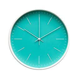 "Contemporary Interior Design Minimalist Palette 12"" Silent Non-Ticking Sweep Wall Clock with White Gloss Frame (Aquamarine)"