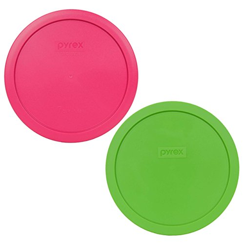Green Round Bowl - Pyrex 7402-PC 6/7 Cup (1) Green (1) Fuchsia Pink Round Plastic Lid - 2 Pack