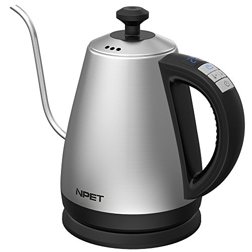 (Gooseneck Electric Kettle with Digital Variable Temperature Control, NPET Coffee Drip Kettle Antuo Shut-off, Keep Warm with Full Stainless Steel Interior, Strix Controller 1.2)