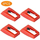 4Pcs Professional Record Player Needles, Turntable Stylus Replacement with Ceramic Ruby Nib for ION Crosley Victrola Pyle Phonograph, Vinyl Record, LP Player