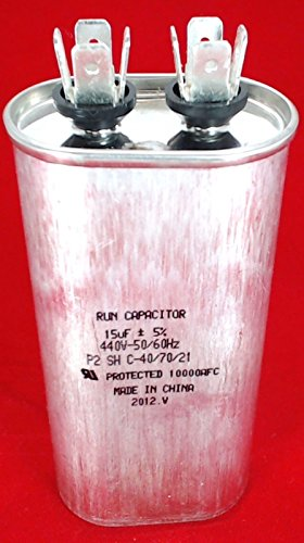 Supco Cr15x440 Hvac Oval Fan Motor Run Capacitor 15 Mfd/Uf 440 Volts CR15X440
