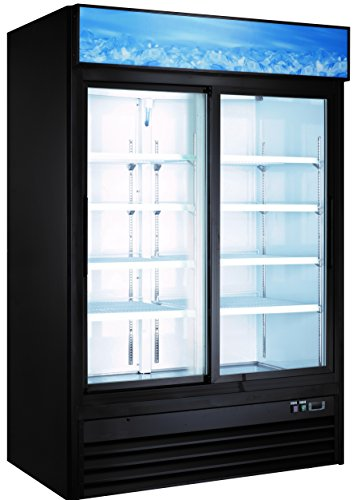Sliding Glass Two Door Cooler Refrigerator 2 Sliding Doors