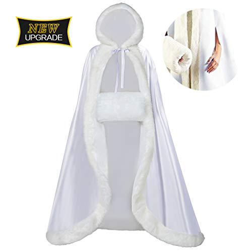 Full Length Wedding Hooded Cloak for Bride and Women. Beautiful Wedding Cape for Winter Wear, Work, Concerts, Everyday. Perfect for Formal. 50 to 55