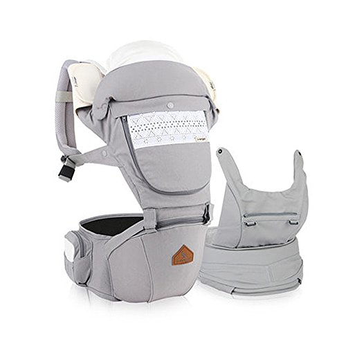 I-angel Miracle Baby Carrier Hipseat Front Backpack Carrier Ergonomic Design for Parents,Sleeping Hood,Organic Cotton teething Pads (Ash-Gray)