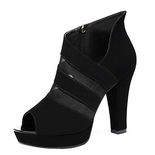 Sandalias De Vestir De Malla Con Tirantes Dunhu Para Mujer, Con Estilo, Negro