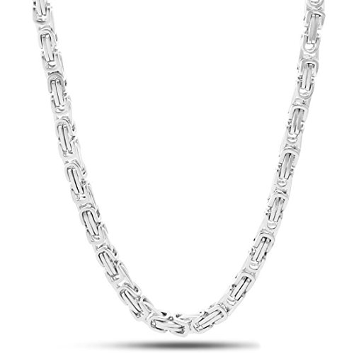 NYC Sterling Unisex Stainless Steel 5MM Byzantine Chain Link Necklace (24 Inches)