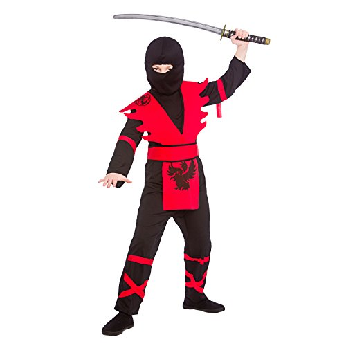 Boys Ninja Assassin Black Red Fancy Dress Up Party Costume Halloween Outfit -