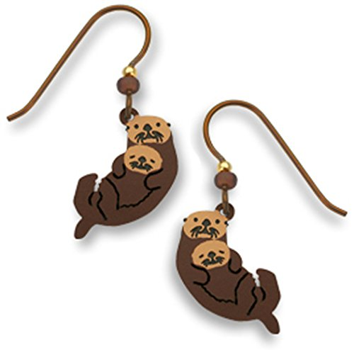 Brown Sea Otter with Cub Earrings Made in the USA by Sienna Sky 1399