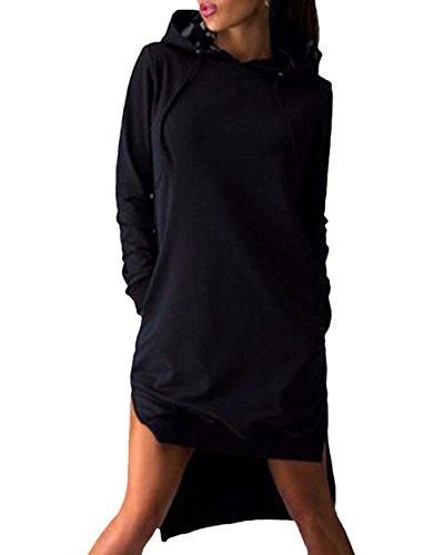 Sweatshirt Manica Eleganti Asimmetrico Corti Taglie Pullover Cappuccio Vestito Inverno Nero Felpa Abito Sciolto Hoodie Puro Vestitini Colore Lunga Autunno Abiti Vestiti Donna Con Forti BP75cP6q