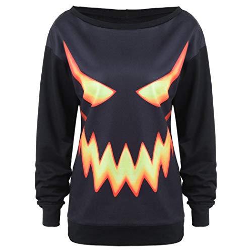 Women Halloween Shirt Funny Pumpkin Costume Long Sleeve Sweatshirt Hoodie Top(O,XX-Large) for $<!--$5.72-->