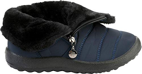 c21c0ee37a42 JOINFREE Womens Slip-on Waterproof Snow Winter Boots Anti-Slip Lightweight  Middle Navy 5.5