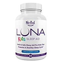 LUNA Kids | #1 Natural Sleep Aid Tablets for Children 4+ and Sensitive Adults | 60 Chewable Pills | Gentle, Herbal, Child Safe Sleeping Supplement Pill with Chamomile, Melatonin, Valerian & Lemon Balm