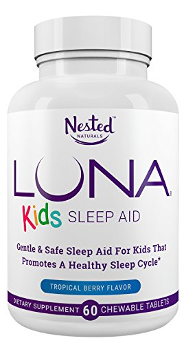 LUNA Kids | #1 Natural Sleep Aid Tablets for Children 4+ and Sensitive Adults | 60 Chewable Pills | Gentle, Herbal, Child Safe Sleeping Supplement Pill with Chamomile, Melatonin, Valerian & Lemon Balm