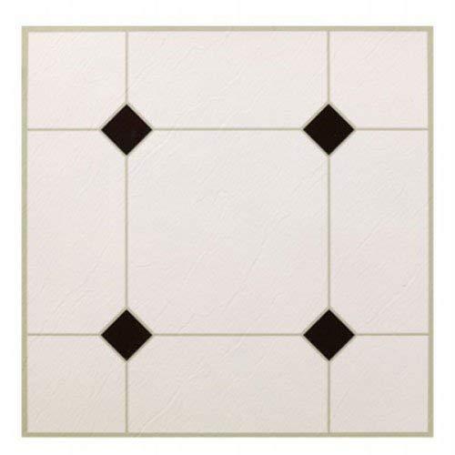(MAX KD0309 5Th Avenue Black & White Peel & Stick Vinyl Floor Tile, 12 x 12