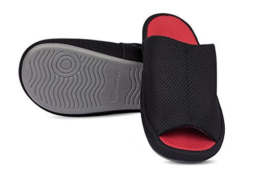 RelaxedFoot Relaxed Foot Slippers | For Indoor and Outdoor | 1 Pair With Storage Bag black with red mTKAkcQf