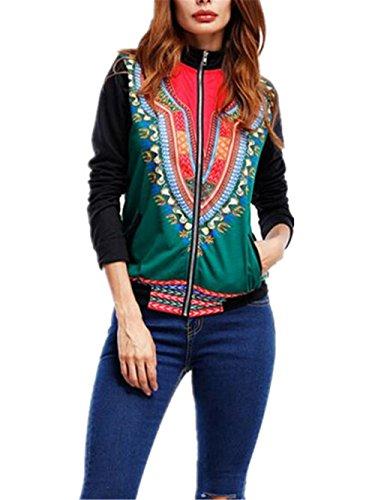 Cremallera Jersey Coat Personalizadas Casual Abrigos Outwear Impresa Deporte Suéter Sudadera Pulóver Jacket Estampada Green Finos BESTHOO Mujer qBtRvngO