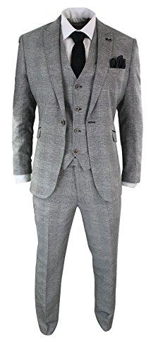 Cavani Mens 3 Piece Herringbone Tweed Black Grey Check Suit Tailored Fit Retro Vintage Grey 40