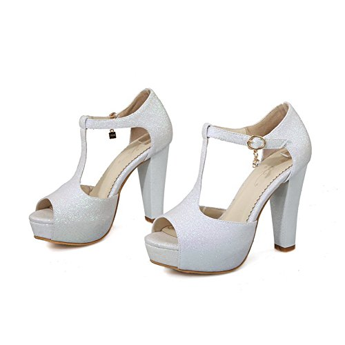 AllhqFashion Womens Soft Material Peep Toe High Heels Buckle Solid Sandals White OMIVLbp0
