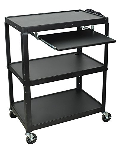 Luxor Office Extra Wide Steel Adjustable Height AV Cart with Pullout Keyboard Shelf