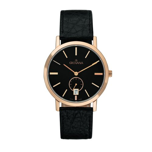 Grovana Men's Quartz Watch with Black Dial Analogue Display and Black Leather Strap 1050.1567