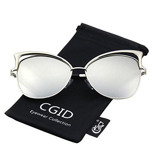 CGID MJ23 Lunettes de Soleil Polarisées Cateye Modernes et Fashion Réfléchissantes UV400 Pour Femmes Argenté Argenté