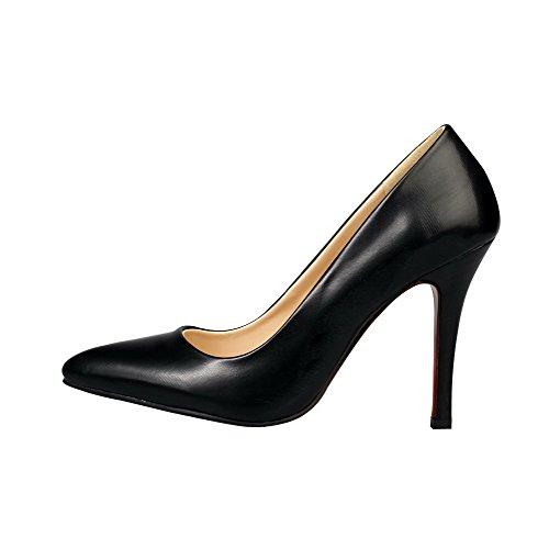 Amoonyfashion Kvinna Mjuk Material Pull-on Spetsiga Sluten Tå Spikar Stilettos Pumpar-skor Svarta