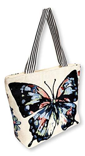 Woven Navy Blue Butterfly Print Zipper Top Tote bag Print