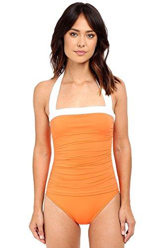 LAUREN Ralph Lauren Women's Bel Aire Solids Shirred Bandeau Mio Slimming Fit w/ Soft Cup Tangerine Swimsuit by Lauren by Ralph Lauren (Image #1)