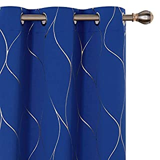 Deconovo Gold Wave Foil Printed Blackout Curtains Room Darkening Grommet Curtain Thermal Insulated Window Drapes for Bedroom 42W x 72L Inch Set of 2 Panels Royal Blue