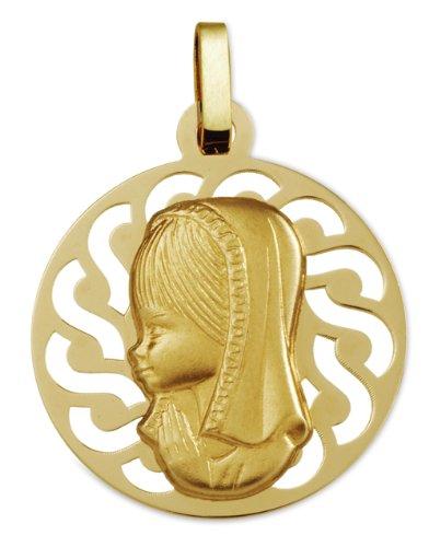 www.diamants-perles.com - Médaille Baptème - Médaille religieuse - Vierge - Ronde ajourée avec bordure - 20 mm - Or Jaune - 750/1000