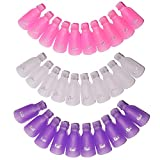 Nail Polish Remover Clips,TsMADDTs 30pcs Acrylic Nail Art Soak Off Clip Caps UV Gel Polish Removal (Pink,Purple,White)