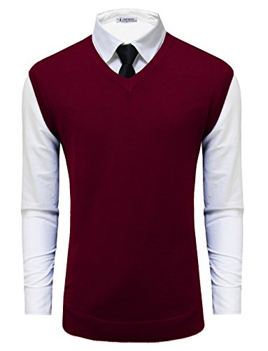 Tom's Ware Mens Casual Pullover V-Neck Sweater Vest TWMV05-WINE-US L by Tom's Ware