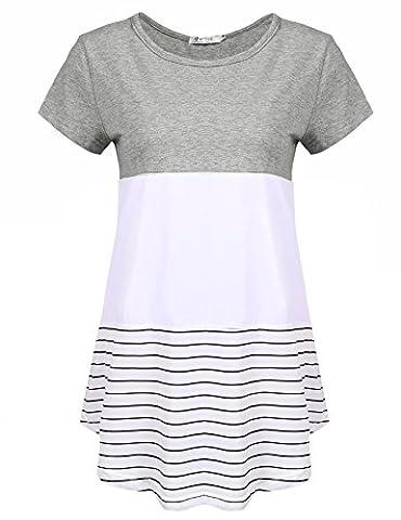Sherosa Women's Casual Color Block Lace Inset Short Sleeve T Shirt Tunic Tops (XXL, Grey) - Adjustment Block
