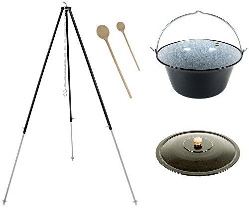 Grillplanet® Set 22 L Gulaschkessel mit Dreibein schwarz 1,80 m und Deckel inkl. 2 Holzkochlöffel (22 Liter Topf doppelt emailliert)