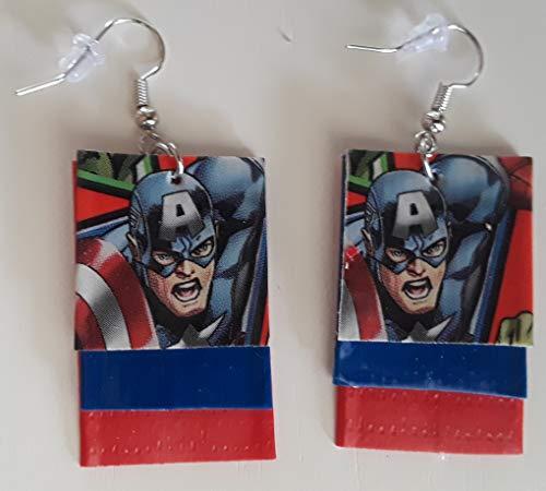 Captain America Duct Tape Earrings