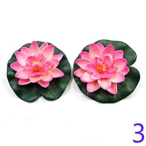 Taloyer Artificial Lotus Flower Water Lily Floating Pool Plants Fake Flower Ornaments for Home Party Hotel Venue Decoration (Pink Red) 62