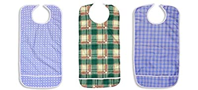 Nobles 3 Pack Vinyl Backing Adult Bibs with Crumb Catcher and Velcro Closure - Multi Color Prints