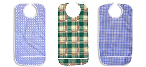 (Nobles 3 Pack Vinyl Backing Adult Bibs with Crumb Catcher and Velcro Closure - Multi Color Prints)