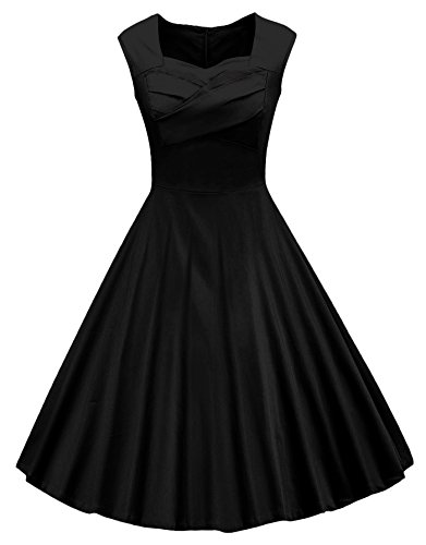 VOGVOG Women's 1950s Retro Vintage Cap Sleeve Party Swing Dress, Black, Small