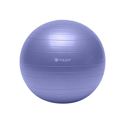 Gaiam Total Body Balance Ball Kit - Includes 55cm Anti-Burst Stability Exercise Yoga Ball, Air Pump & Workout Video - Purple